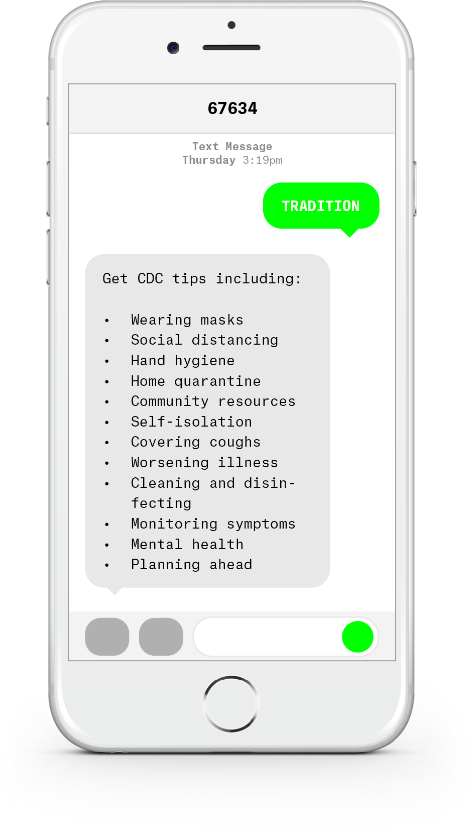 White iPhone with text messages about COVID-19 from Health Tradition.