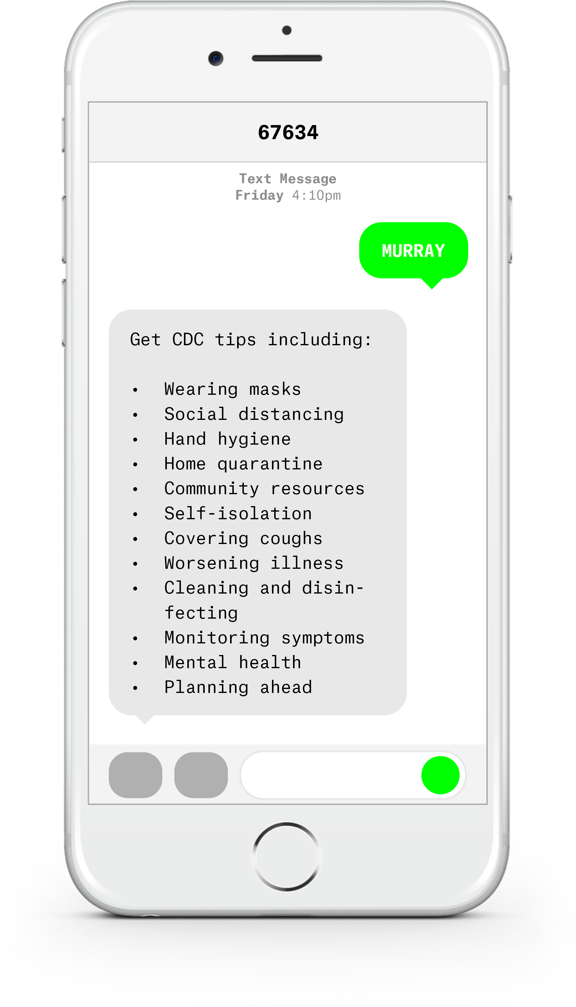 White iPhone with text messages about COVID-19 from Murray County Medical Center.