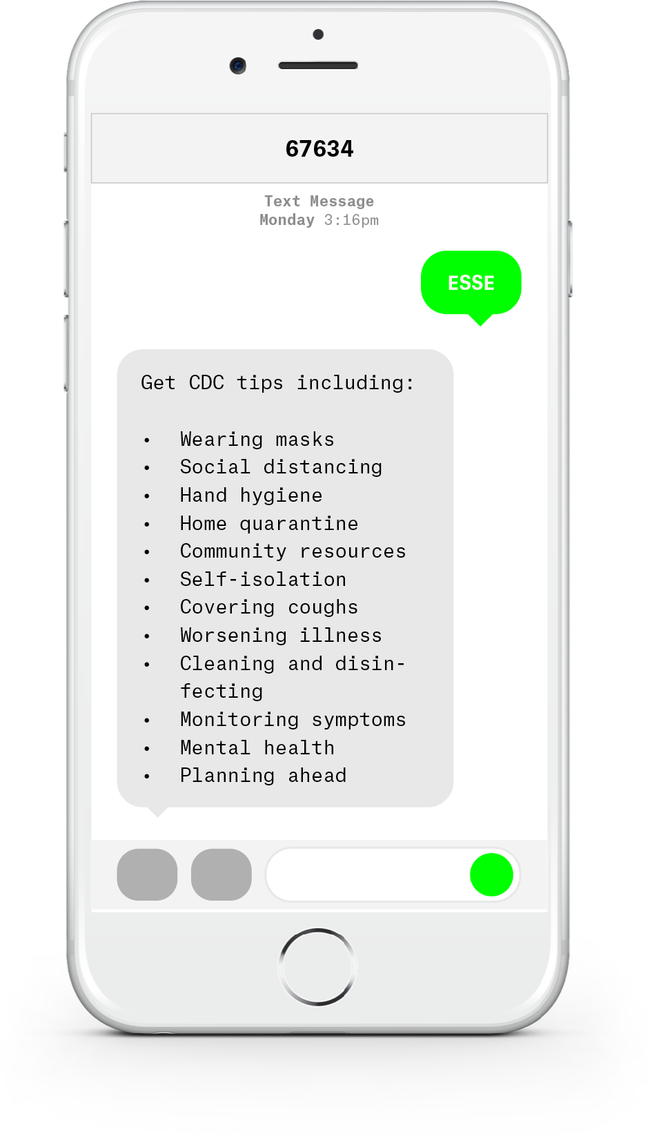 White iPhone with text messages about COVID-19 from Esse Health.